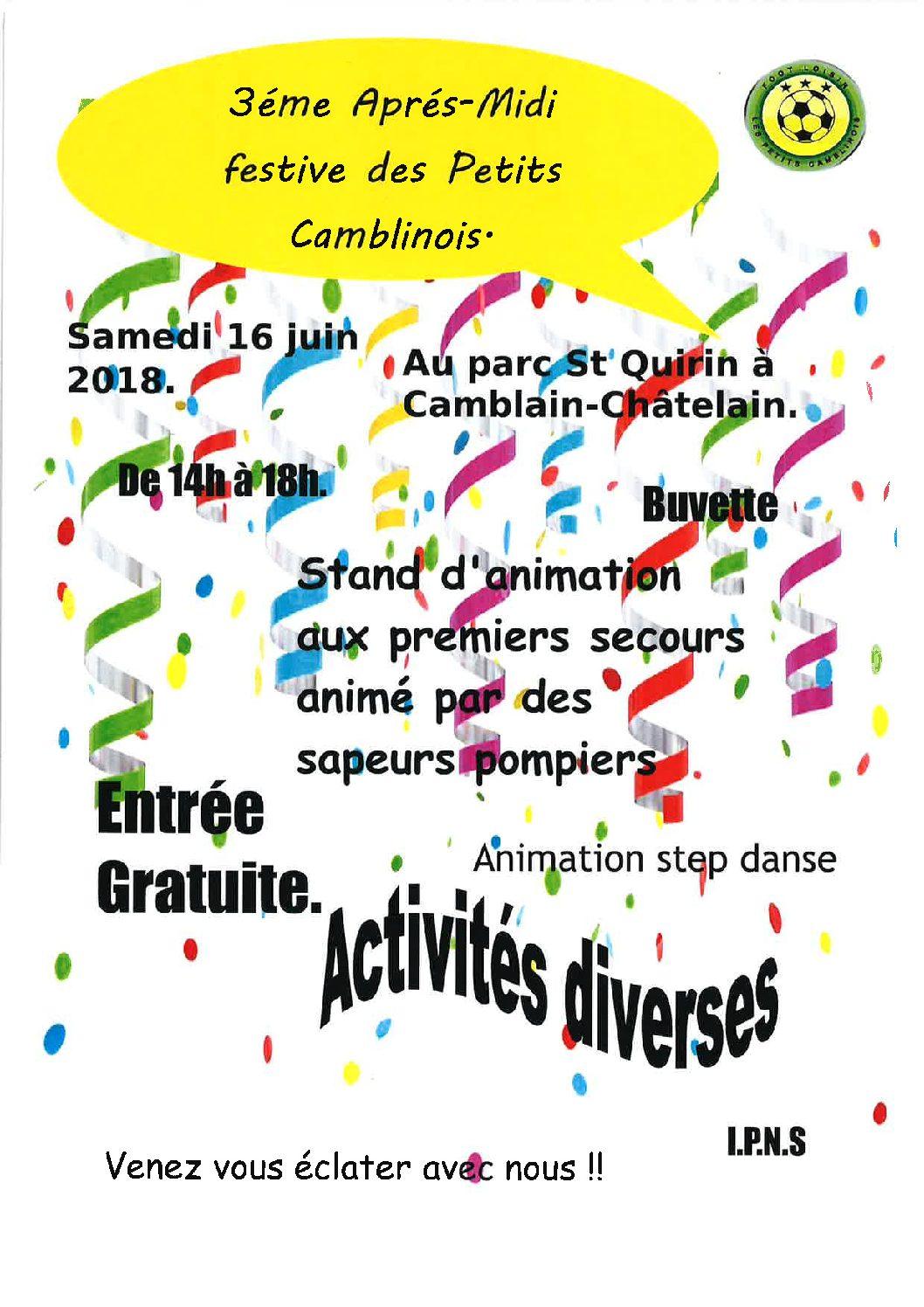 3ème Après-Midi Festive des Petits Camblinois – 16 Juin 2018 de 14 h à 18 h