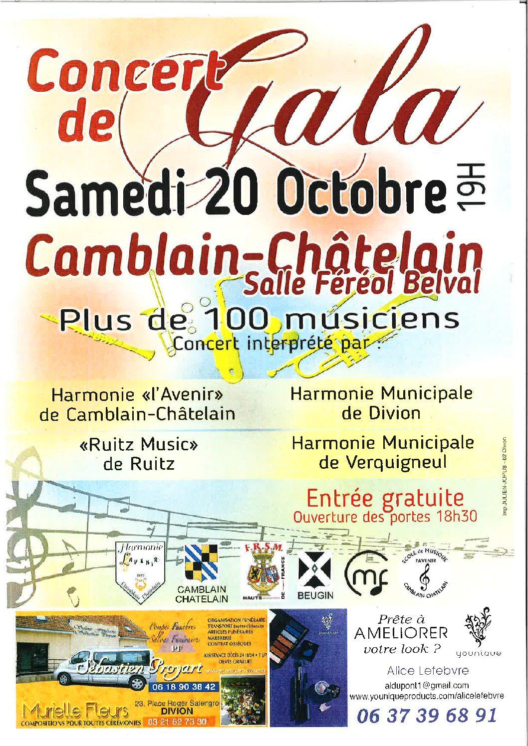 Concert de Gala – Samedi 20 Octobre 2018- 19 H  Salle Féréol Belval