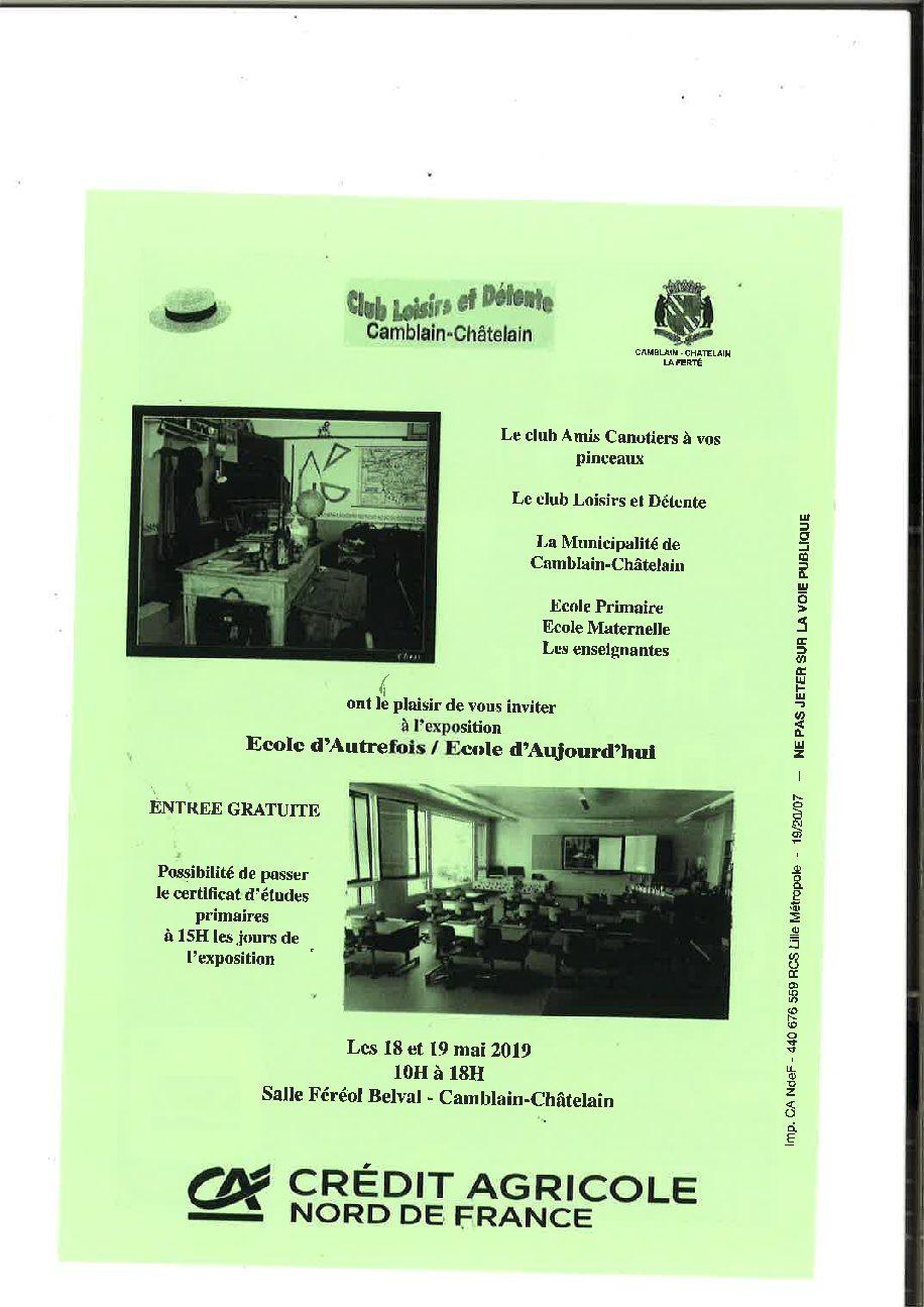 Exposition Ecole d'Autrefois/Ecole d'Aujourd'hui les 18 et 19 mai 2019