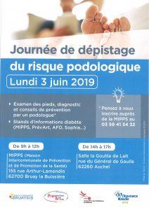 Journée de dépistage du risque podologie le lundi 3 Juin 2019 à Bruay-la-Buissière de 9h00 à 12h00 et à Auchel de 14h00 à 17h00 20190529140752 001