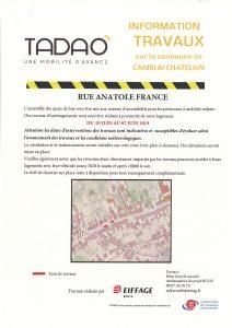 Information TRAVAUX sur la rue Anatole France du 03 au 07 Juin 2017 - Aménagement des quais de bus TADAO 20190604100421 001