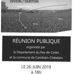 RÉUNION PUBLIQUE – DÉVIATION DE DIVION / OURTON RD 941 LE 26 JUIN Á 18h (organisée par le département)