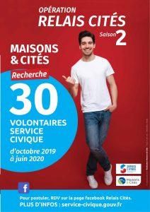 Maisons & Cités recherche 30 jeunes en service civique d'octobre 2019 à juin 2020 .....1ère réunion d'information des partenaires 2 AFFICHES SERVICE CIVIQUE MAISONS ET CITES 2019 2