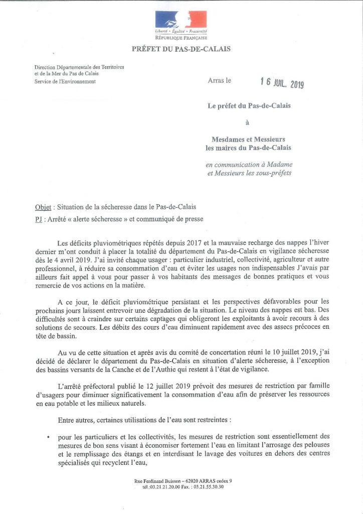 Alerte Sécheresse dans le Pas de Calais SECHERESSE 002 page 001