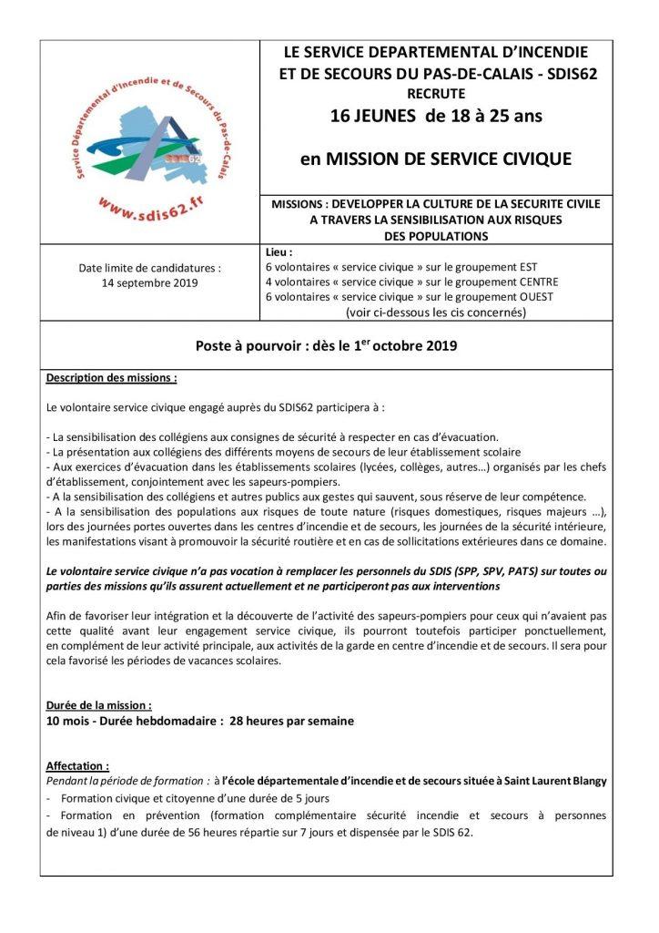 RECRUTEMENT SERVICE CIVIQUE SDIS 62 SERVICE CIVIQUE AVIS DE VACANCE 2019 page 001