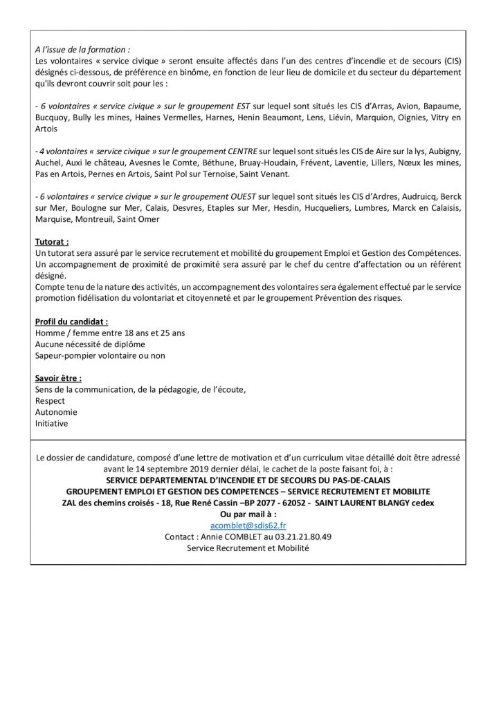 RECRUTEMENT SERVICE CIVIQUE SDIS 62 SERVICE CIVIQUE AVIS DE VACANCE 2019 page 002