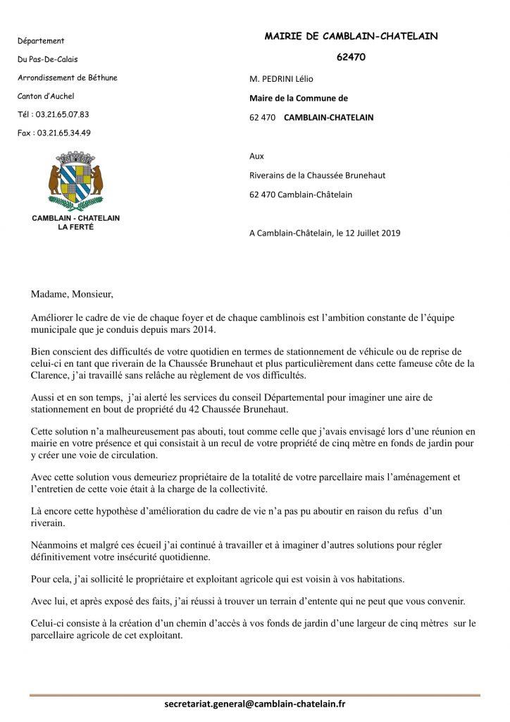 DIFFICULTÉS DE STATIONNEMENT DU CÔTÉ DE LA CLARENCE SUR LA CHAUSSÉE BRUNEHAUT  ................ VERS UNE SOLUTION courrier riverains chaussee brunehaut 1