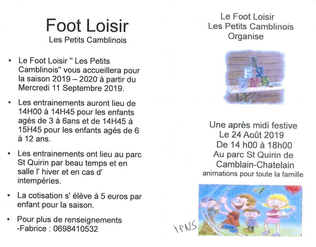 """Le Foot Loisir """"Les Petits Camblinois"""" vous accueillera pour la saison 2019 - 2020 à partir du mercredi 11 Septembre 2019 foot loisirs 0011"""