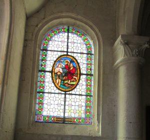 Travaux à l'église changement du vitrail sept 7 1