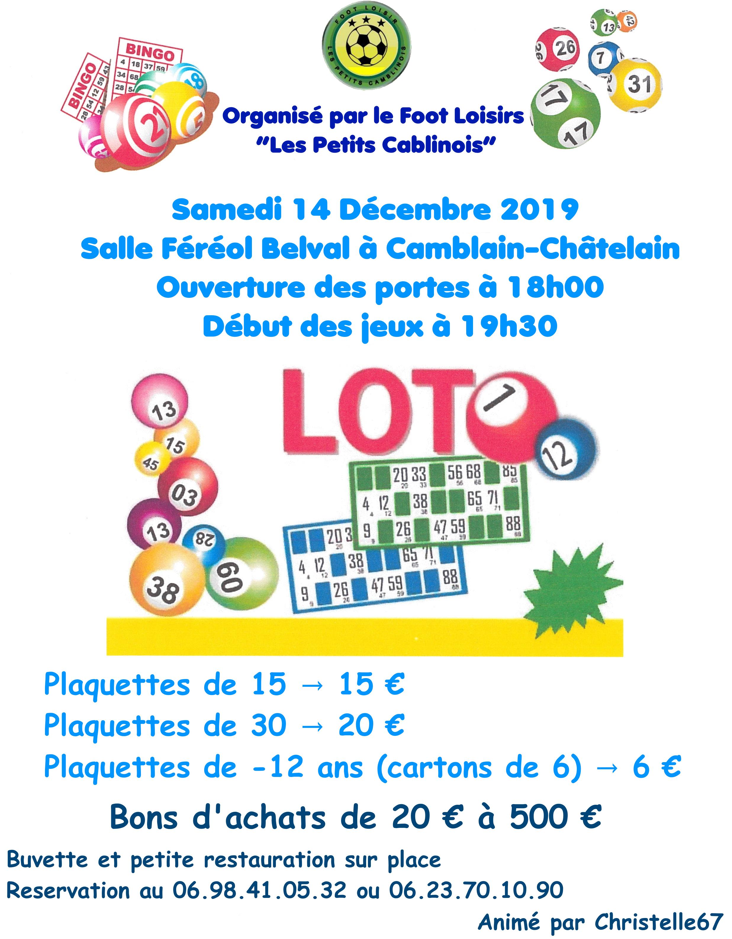 LOTO «Les Petits Camblinois» Samedi 14 Décembre 2019