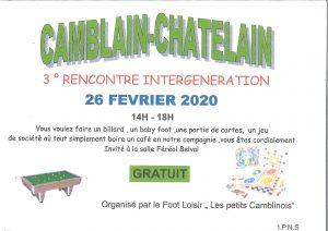 """3 ème Rencontre Intergéneration le 26 Février de 14h00 à 18h00 organisé par l'association Le Foot Loisir  """"Les Petits Camblinois"""" 20200121141848 001"""