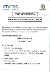 Coupures de Courant pour Travaux - ENEDIS - Jeudi 30 Janvier 20200121142526 001