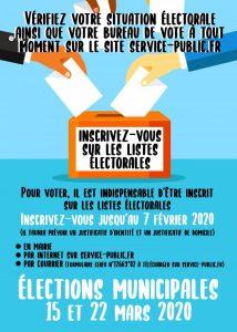 INSCRIPTIONS MUNICIPALES - INSCRIPTION JUSQU'AU 7 FÉVRIER 2020 municipale 2020