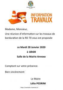 RÉUNION D'INFORMATION TRAVAUX - LA FERTÉ - MARDI 28 JANVIER À 18H00 tract info rd 70 la ferte du 28 janvier 2020