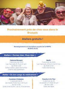 """Défi Autonomie Seniors- Ateliers gratuits """" Dormez-bien, Vivez-bien"""" et """"Du bon usage du Médicament"""" MIPPS temps fort seniors Flyer verso"""