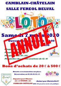 LOTO  - Samedi 7 Mars à 19h30 -  ANNULÉ afiche loto annule