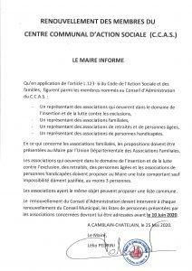 RENOUVELLEMENT DES MEMBRES DU CENTRE COMMUNAL D'ACTION SOCIALE ( C.C.A.S) 20200526135900 001