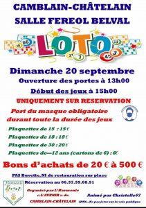 """Loto dimanche 20 septembre par l'harmonie """"l'Avenir"""" loto"""