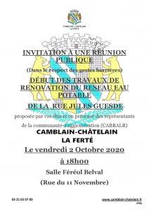 Réunion publique: rénovation du réseau d'eau potable, Rue Jules Guesdes R  union publique Rue Jules Guesde 2 Octobre 2020 CABBAL