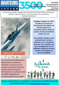 Salon des Métiers de l'armée de l'air à Nœux-les-Mines le Mercredi 04 Novembre newsletter du recrutement Novembre 2020