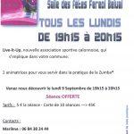 Venez Pratiquer «LA ZUMBA» tous les lundis de 19h15 à 20h15 à Salle des Fêtes Féréol Belval avec l'association LIV-IT-UP -Séance gratuite ce lundi 9 Septembre