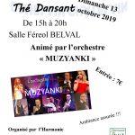Thé dansant Dimanche 13 Octobre 2019 de 15h00 à 20h00 Salle Féreol BELVAL