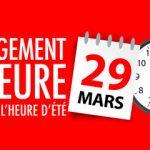 PASSAGE A L'HEURE D'ÉTÉ – DIMANCHE 29 MARS 2020